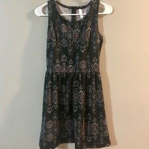 Black mini dress with colorful pattern